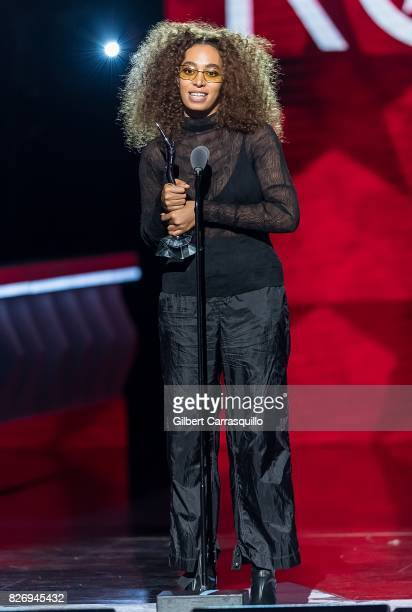 Singersongwriter Solange Knowles accepts her Award onstage during Black Girls Rock 2017 at New Jersey Performing Arts Center on August 5 2017 in...