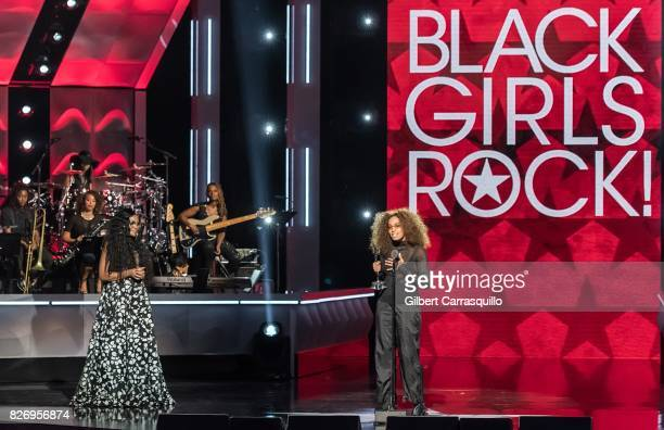 Singersongwriter Solange Knowles accepts her award onstage from CEO Founder BLACK GIRLS ROCK Beverly Bond during Black Girls Rock 2017 at New Jersey...