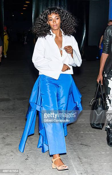 Singersongwriter Solange Knowles is seen arriving at Prabal Gurung fashion show during Spring 2016 New York Fashion Week on September 13 2015 in New...