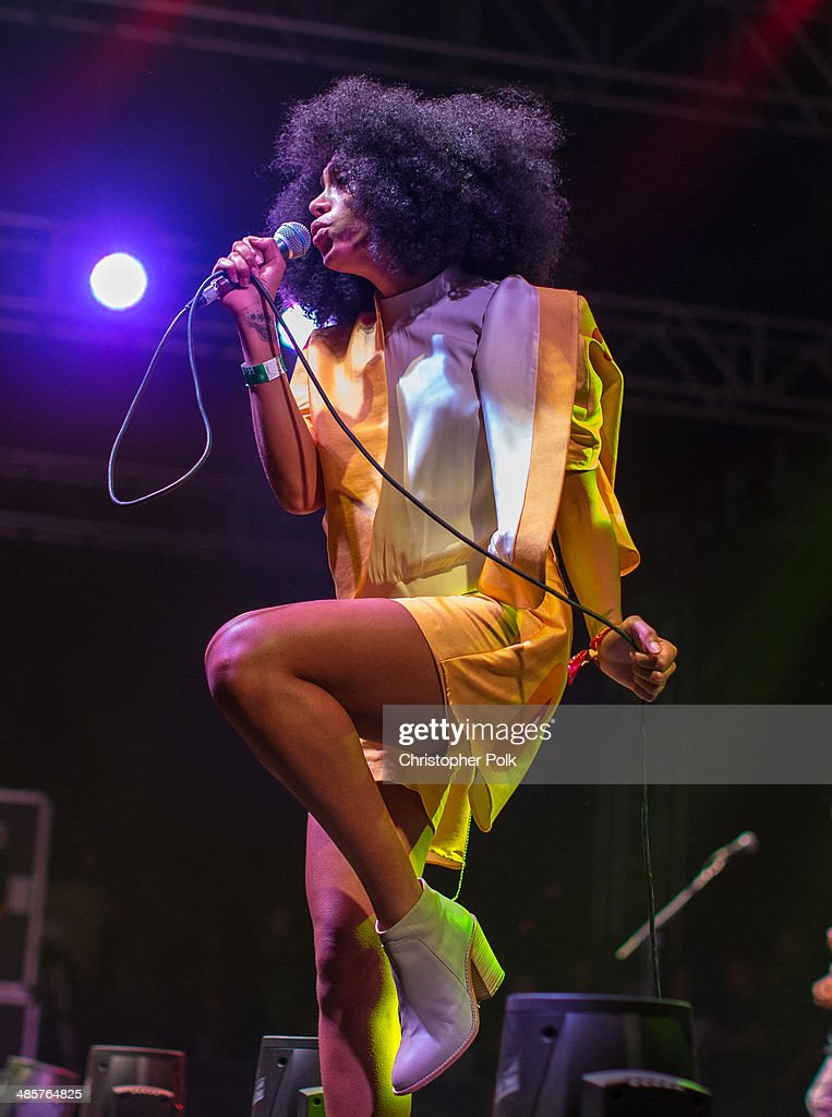 Singer/songwriter Solange Knowles performs onstage during day 2 of the 2014 Coachella Valley Music & Arts Festival at the Empire Polo Club on April 19, 2014 in Indio, California.