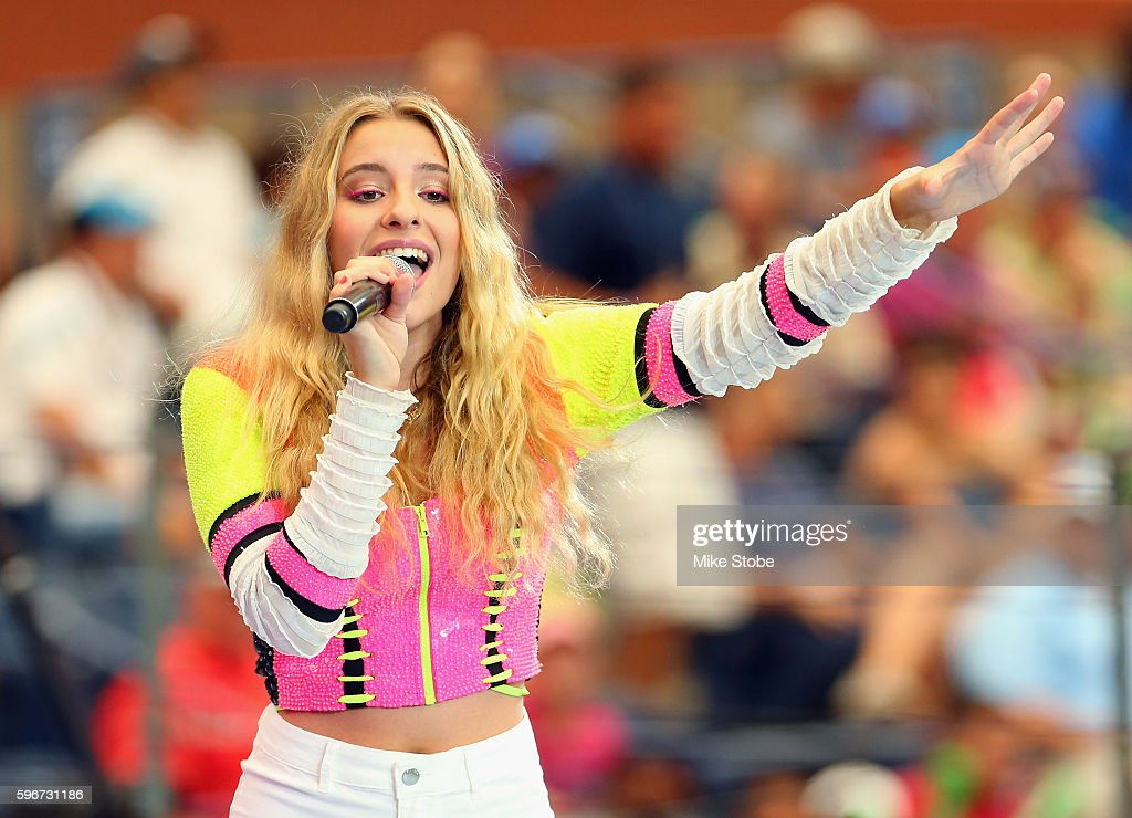 Singersongwriter Sophie Beem performs in the stadium show during Arthur Ashe Kids' Day prior to the start of the 2016 US Open at the USTA Billie Jean...