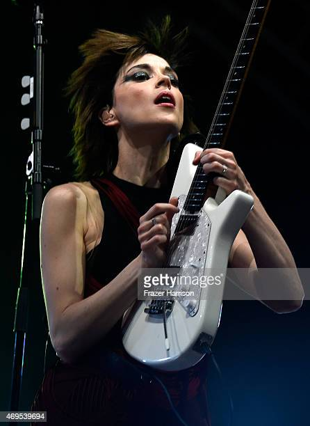 Singersongwriter St Vincent performs onstage during day 3 of the 2015 Coachella Valley Music Arts Festival at the Empire Polo Club on April 12 2015...
