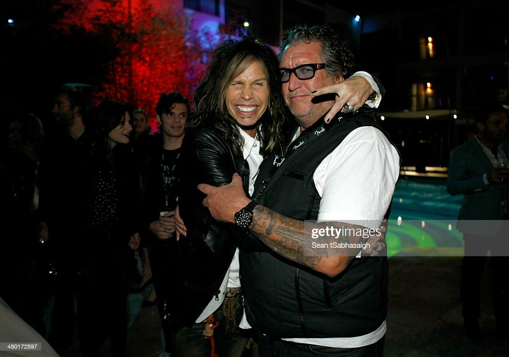 Singer/songwriter <a gi-track='captionPersonalityLinkClicked' href=/galleries/search?phrase=Steven+Tyler+-+Musician&family=editorial&specificpeople=202080 ng-click='$event.stopPropagation()'>Steven Tyler</a> (L) and musician Steve Jones of the Sex Pistols attend the Sunset Marquis Hotel 50th Anniversary Birthday Bash at Sunset Marquis Hotel & Villas on November 16, 2013 in West Hollywood, California.