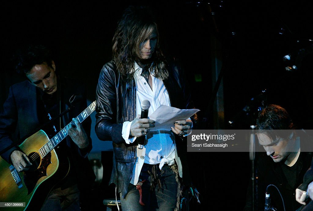 Singer/songwriter <a gi-track='captionPersonalityLinkClicked' href=/galleries/search?phrase=Steven+Tyler+-+Musician&family=editorial&specificpeople=202080 ng-click='$event.stopPropagation()'>Steven Tyler</a> performs onstage at the Sunset Marquis Hotel 50th Anniversary Birthday Bash at Sunset Marquis Hotel & Villas on November 16, 2013 in West Hollywood, California.