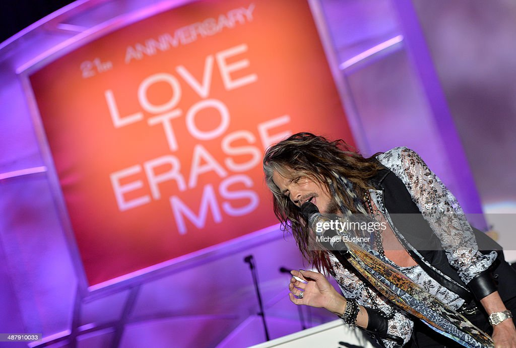 Singer/songwriter <a gi-track='captionPersonalityLinkClicked' href=/galleries/search?phrase=Steven+Tyler+-+Musician&family=editorial&specificpeople=202080 ng-click='$event.stopPropagation()'>Steven Tyler</a> performs onstage during the 21st annual Race to Erase MS at the Hyatt Regency Century Plaza on May 2, 2014 in Century City, California.