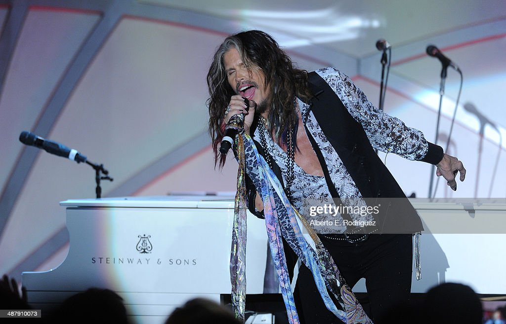 Singer/songwriter Steven Tyler performs onstage during the 21st annual Race to Erase MS at the Hyatt Regency Century Plaza on May 2, 2014 in Century City, California.