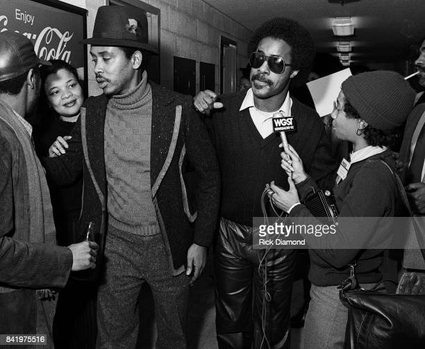 Singer/Songwriter Stevie Wonder backstage during MLK Gala at The Atlanta Civic Center in Atlanta Georgia January 13 1982