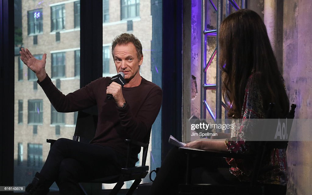Singer/songwriter Sting and reporter Shanon Cook attends The Build Series Presents to discuss his new album '57th & 9th' at AOL HQ on October 21, 2016 in New York City.