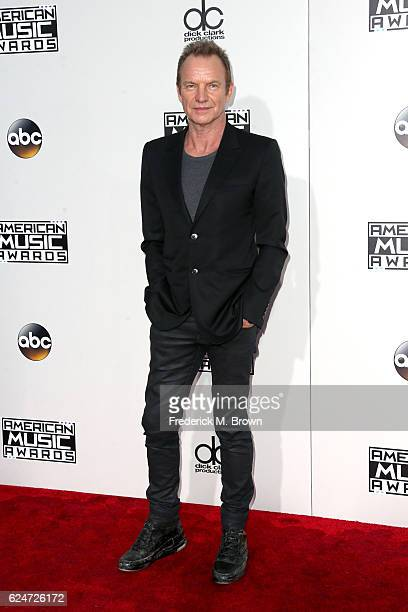 Singersongwriter Sting attends the 2016 American Music Awards at Microsoft Theater on November 20 2016 in Los Angeles California