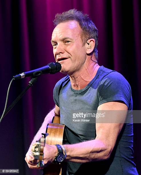 Singer/songwriter Sting performs onstage at the GRAMMY Museum on October 26 2016 in Los Angeles California