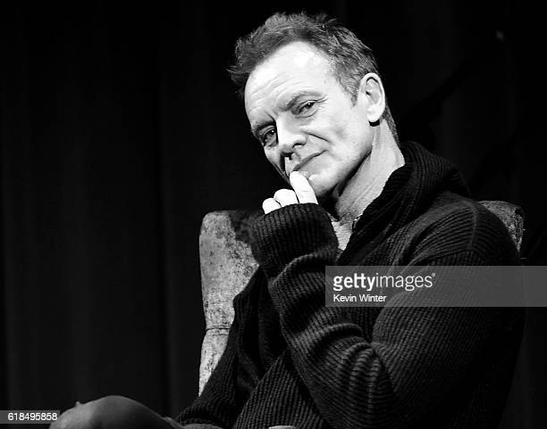 Singer/songwriter Sting speaks onstage at the GRAMMY Museum on October 26 2016 in Los Angeles California