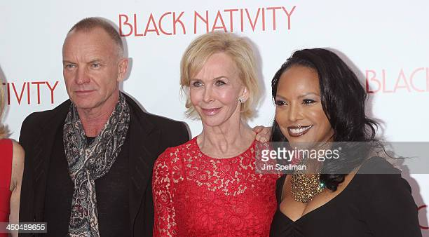 Singer/songwriter Sting Trudie Styler and actress Lynn Whitfield attend the 'Black Nativity' premiere at The Apollo Theater on November 18 2013 in...