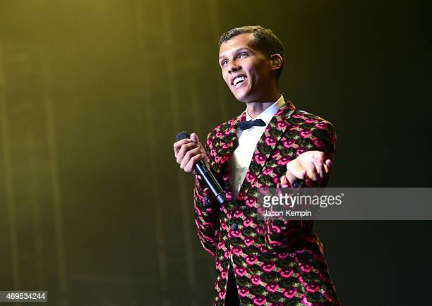 Singer/songwriter Stromae performs onstage during day 3 of the 2015 Coachella Valley Music Arts Festival at the Empire Polo Club on April 12 2015 in...