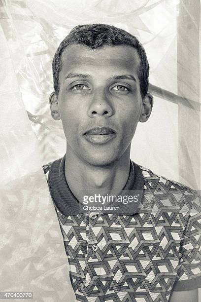 Singersongwriter Stromae poses backstage at the Coachella Valley Music and Arts Festival at The Empire Polo Club on April 19 2015 in Indio California