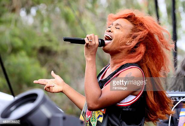 Singer/songwriter SZA performs at the Twin Peaks Stage during day 3 of the 2015 Outside Lands Music And Arts Festival at Golden Gate Park on August 9...