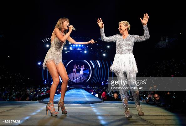 Singersongwriter Taylor Swift and comedian Ellen DeGeneres perform onstage during Taylor Swift The 1989 World Tour Live In Los Angeles at Staples...