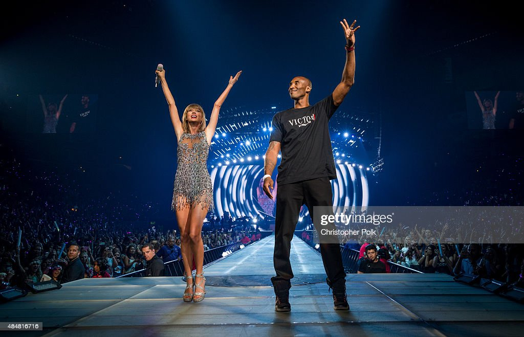 Singer-songwriter <a gi-track='captionPersonalityLinkClicked' href=/galleries/search?phrase=Taylor+Swift&family=editorial&specificpeople=619504 ng-click='$event.stopPropagation()'>Taylor Swift</a> (L) and NBA player <a gi-track='captionPersonalityLinkClicked' href=/galleries/search?phrase=Kobe+Bryant&family=editorial&specificpeople=201466 ng-click='$event.stopPropagation()'>Kobe Bryant</a> speak onstage during The 1989 World Tour Live In Los Angeles at Staples Center on August 21, 2015 in Los Angeles, California.