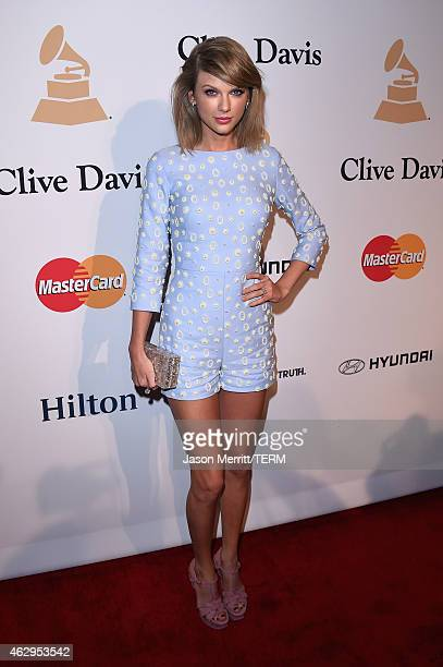 Singersongwriter Taylor Swift attends the PreGRAMMY Gala and Salute To Industry Icons honoring Martin Bandier at The Beverly Hilton Hotel on February...