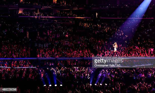 Singersongwriter Taylor Swift performs onstage during Taylor Swift The 1989 World Tour Live In Los Angeles at Staples Center on August 25 2015 in Los...