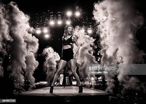 Singersongwriter Taylor Swift performs onstage during The 1989 World Tour Live In Los Angeles at Staples Center on August 21 2015 in Los Angeles...