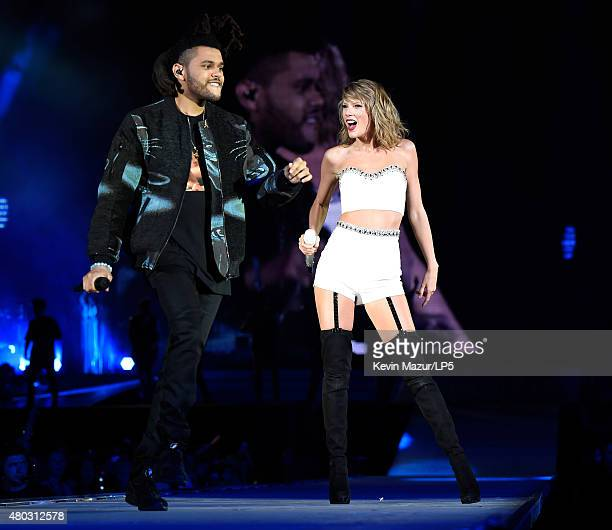 Singer/songwriter Taylor Swift performs onstage with The Weeknd during The 1989 World Tour Live at MetLife Stadium on July 10 2015 in East Rutherford...