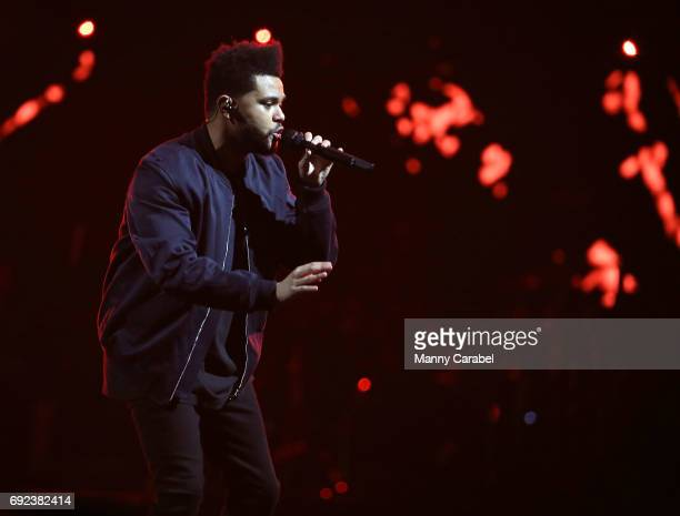 Singer/Songwriter The Weeknd performs during the Starboy Legend of the Fall 2017 World Tour at Prudential Center on June 4 2017 in Newark New Jersey