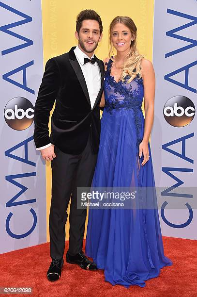 Singersongwriter Thomas Rhett and Lauren Gregory attend the 50th annual CMA Awards at the Bridgestone Arena on November 2 2016 in Nashville Tennessee