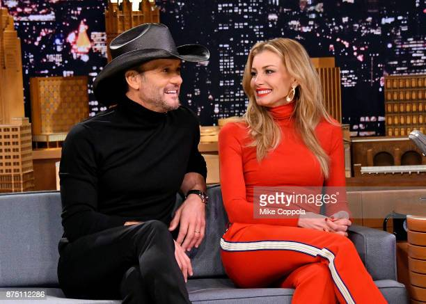 Singer/songwriter Tim McGraw and wife/singer Faith Hill are interviewed on 'The Tonight Show Starring Jimmy Fallon' at Rockefeller Center on November...
