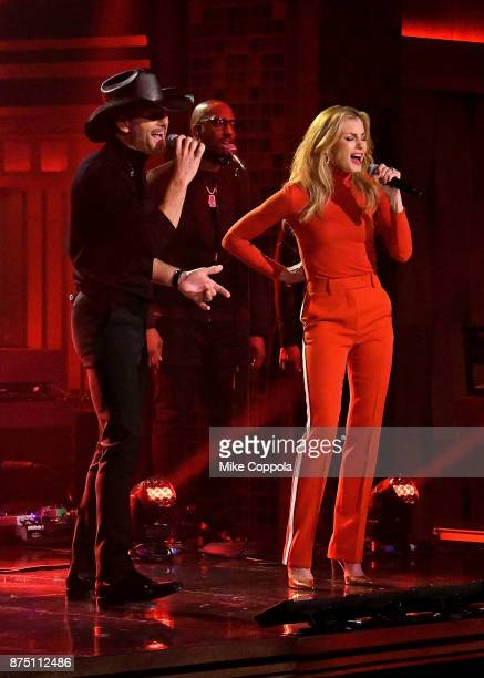 Singer/songwriter Tim McGraw and wife/singer Faith Hill perform on 'The Tonight Show Starring Jimmy Fallon' at Rockefeller Center on November 16 2017...