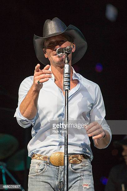 Singersongwriter Tim McGraw performs in concert as part of the San Antonio Stock Show Rodeo at the ATT Center on February 8 2014 in San Antonio Texas