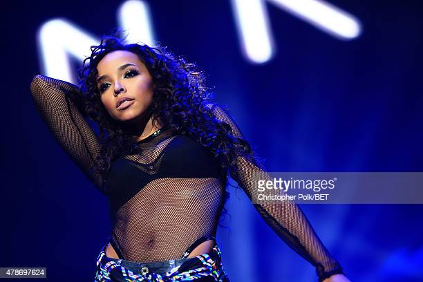 Singersongwriter Tinashe performs onstage during the Nicki Minaj NeYo Tinashe Rae Sremmurd concert at Staples Center on June 26 2015 in Los Angeles...
