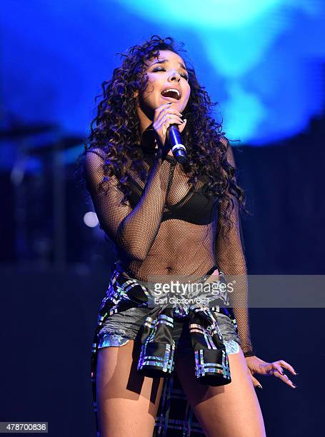 Singersongwriter Tinashe performs onstage during the Nicki Minaj NeYo Tinashe Rae Sremmurd concert at Staples Center on June 26 2015 in Los Angeles...