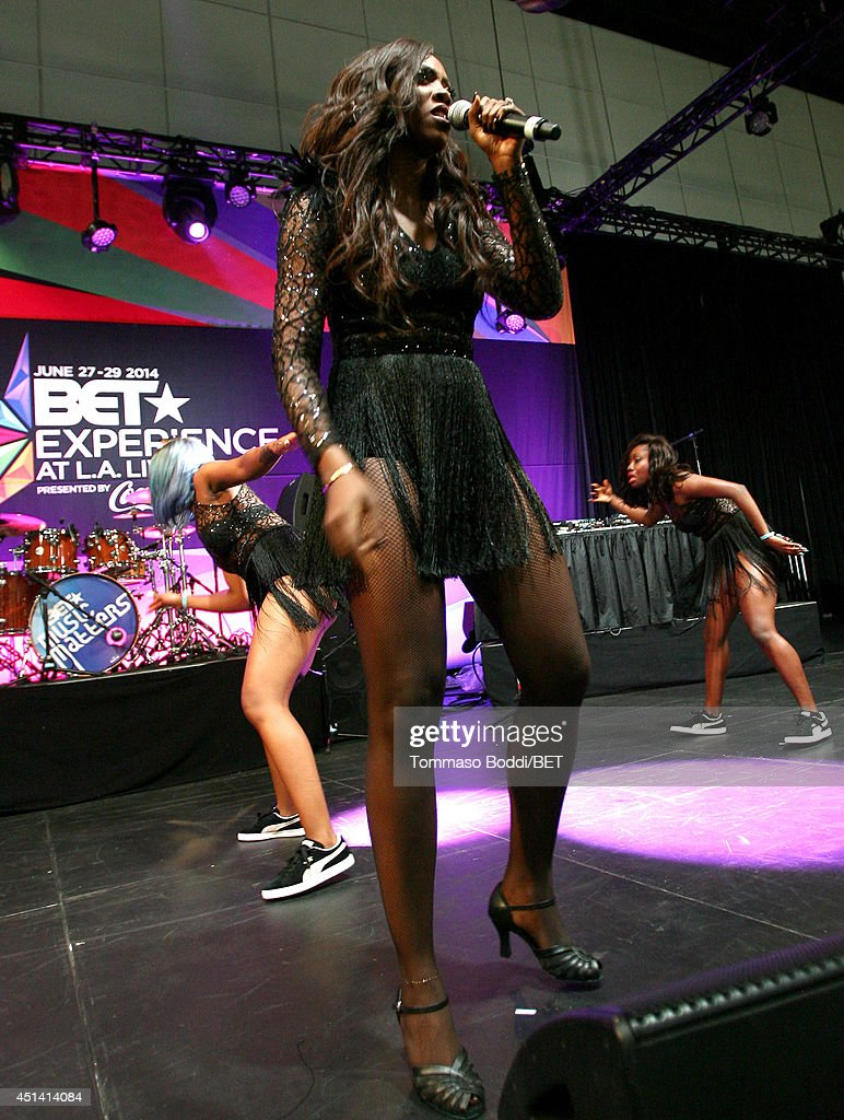 Singersongwriter Tiwa Savage performs onstage at the Music Around the Globe during the 2014 BET Experience At LA LIVE on June 28 2014 in Los Angeles...