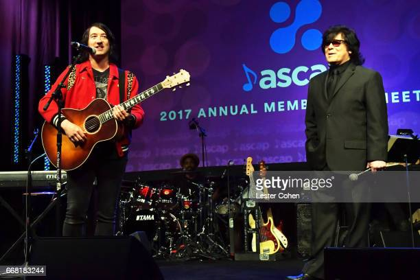 Singersongwriter Tom Higgenson and ASCAP EVP of Membership John Titta speak onstage at the ASCAP Annual Membership Meeting and EXPO Kickoff during...