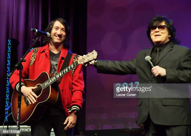 Singersongwriter Tom Higgenson and ASCAP EVP of Membership John Ttta speak onstage at the ASCAP Annual Membership Meeting and EXPO Kickoff during the...