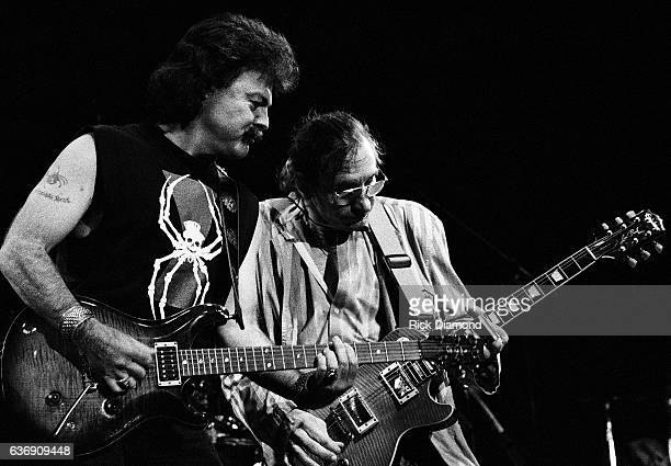 Singer/Songwriter Tom Johnston of The Doobie Brothers and Joe Walsh perform at Chastain Park amphitheater in Atlanta Georgia August 25 1991