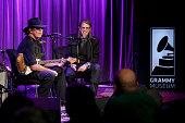 Singer/songwriter Tony Joe White speaks with Vice President of the GRAMMY Foundation Scott Goldman at The Drop Tony Joe White at The GRAMMY Museum on...