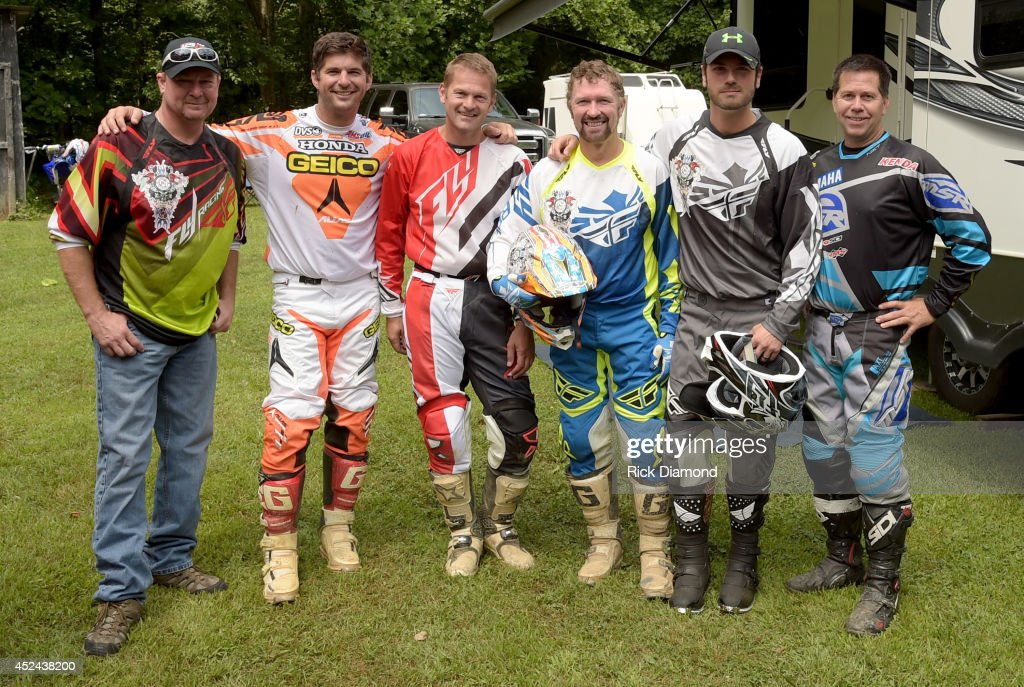 Singer/Songwriter <a gi-track='captionPersonalityLinkClicked' href=/galleries/search?phrase=Tracy+Lawrence&family=editorial&specificpeople=217325 ng-click='$event.stopPropagation()'>Tracy Lawrence</a>, Motocross Stars <a gi-track='captionPersonalityLinkClicked' href=/galleries/search?phrase=Kevin+Windham&family=editorial&specificpeople=2394487 ng-click='$event.stopPropagation()'>Kevin Windham</a>, Chris Blankenship, Host/Singer/Songwriter <a gi-track='captionPersonalityLinkClicked' href=/galleries/search?phrase=Craig+Morgan&family=editorial&specificpeople=238953 ng-click='$event.stopPropagation()'>Craig Morgan</a>, Singer/Songwriter <a gi-track='captionPersonalityLinkClicked' href=/galleries/search?phrase=Chuck+Wicks&family=editorial&specificpeople=4424830 ng-click='$event.stopPropagation()'>Chuck Wicks</a> and AMA Motorcycle Hall of Fame member Randy Hawkins participate in the Celebrity Off-Road Trail Ride during the 8th annual Dickson County <a gi-track='captionPersonalityLinkClicked' href=/galleries/search?phrase=Craig+Morgan&family=editorial&specificpeople=238953 ng-click='$event.stopPropagation()'>Craig Morgan</a> Foundation Benefit at Paul Allen Farm on July 20, 2014 in Vanleer, Tennessee.
