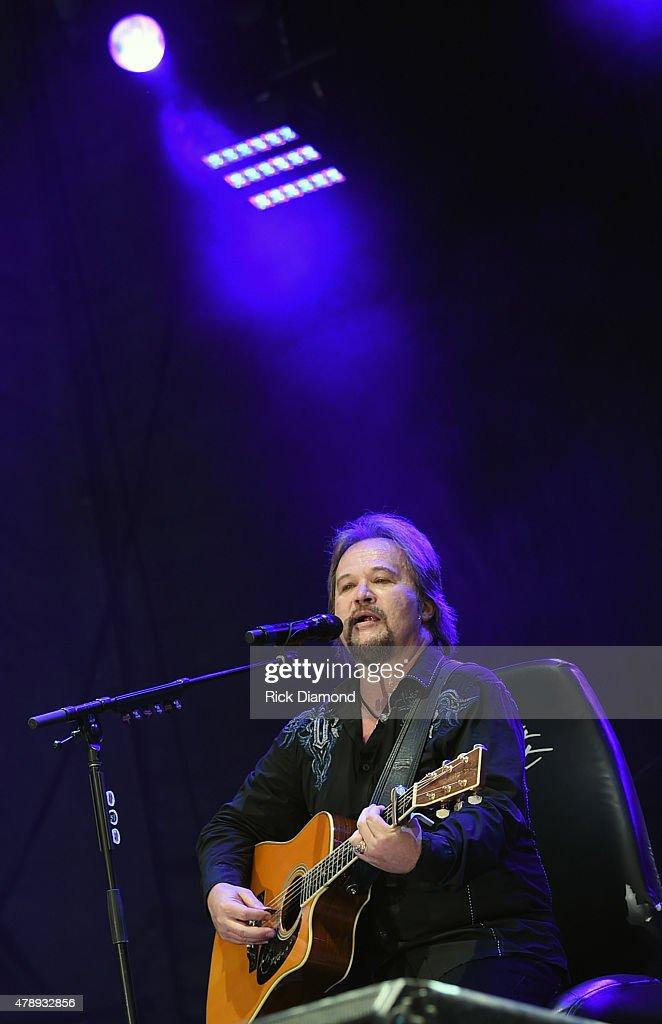 Singer/Songwriter Travis Tritt performs during the 20th Anniversaty of Kicker Country Stampede Manhattan Kansas Day 4 on June 28 2015 at Tuttle Creek...
