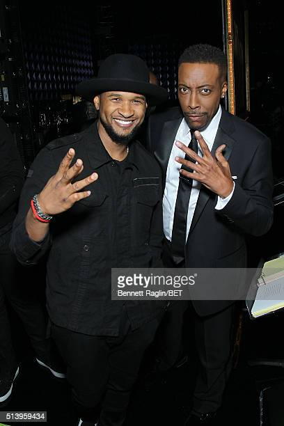 Singersongwriter Usher and host Arsenio Hall attend BET Honors 2016 at Warner Theatre on March 5 2016 in Washington DC