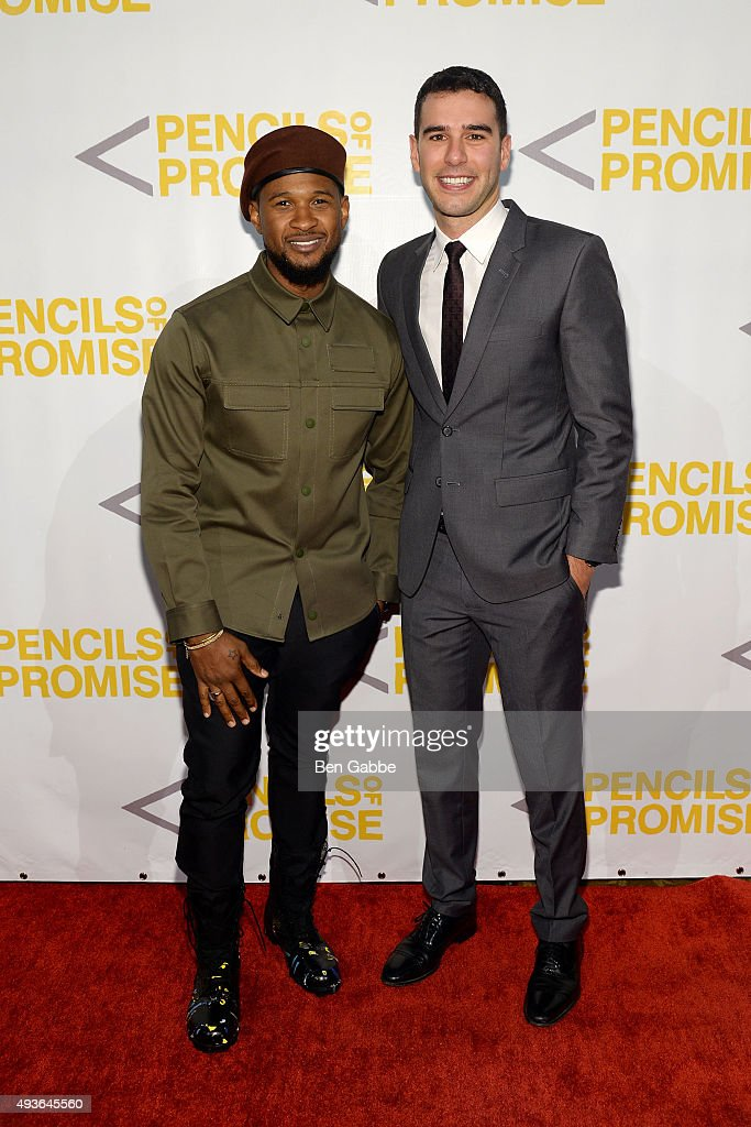 Singersongwriter Usher and Pencils Of Promise founder Adam Braun attend the Pencils of Promise gala at Cipriani Wall Street on October 21 2015 in New...