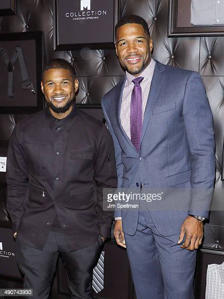 Singersongwriter Usher and retired football player/TV personality Michael Strahan attend the JCPenney x Michael Strahan launch party at JCPenney on...