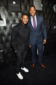 Singersongwriter Usher and TV personality Michael Strahan attend JCPenney and Michael Strahan's launch of Collection by Michael Strahan on September...