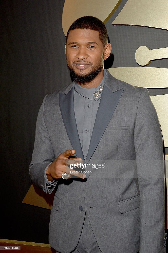 Singer-songwriter <a gi-track='captionPersonalityLinkClicked' href=/galleries/search?phrase=Usher+-+S%C3%A5ngare&family=editorial&specificpeople=201477 ng-click='$event.stopPropagation()'>Usher</a> attends The 57th Annual GRAMMY Awards at the STAPLES Center on February 8, 2015 in Los Angeles, California.