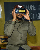 Singersongwriter Usher tries Oculus Rift at the Pencils of Promise gala at Cipriani Wall Street on October 21 2015 in New York City