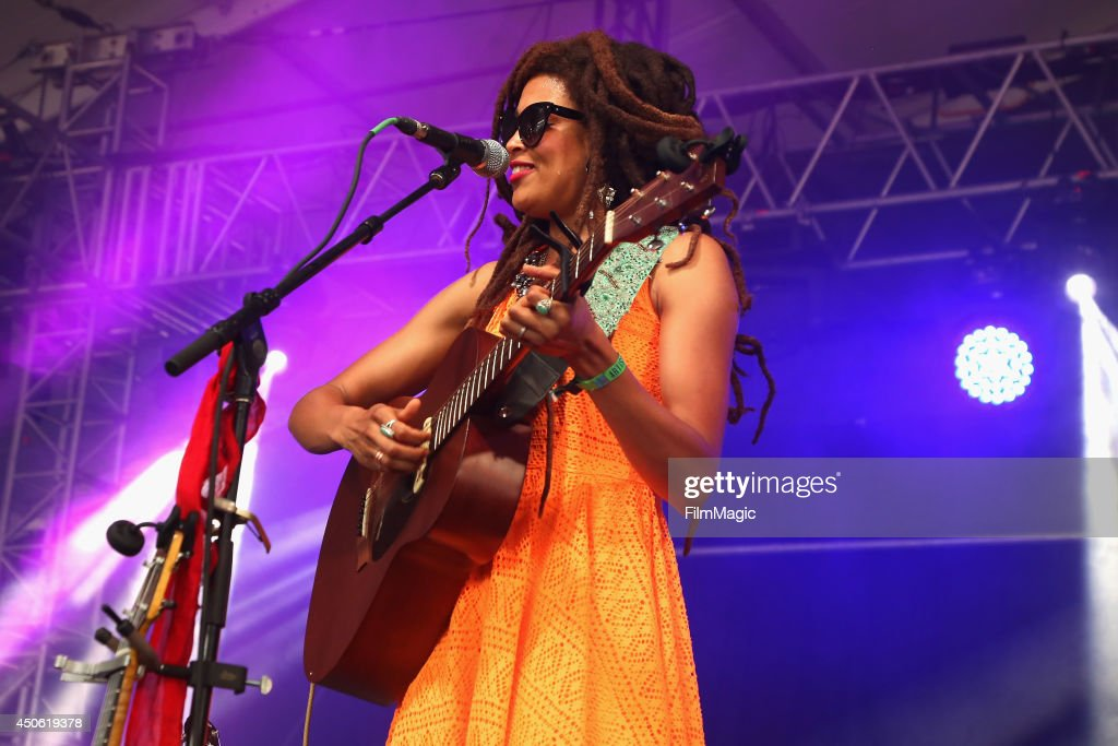 Singer-songwriter <a gi-track='captionPersonalityLinkClicked' href=/galleries/search?phrase=Valerie+June&family=editorial&specificpeople=5801252 ng-click='$event.stopPropagation()'>Valerie June</a> performs onstage at This Tent during day 3 of the 2014 Bonnaroo Arts And Music Festival on June 14, 2014 in Manchester, Tennessee.