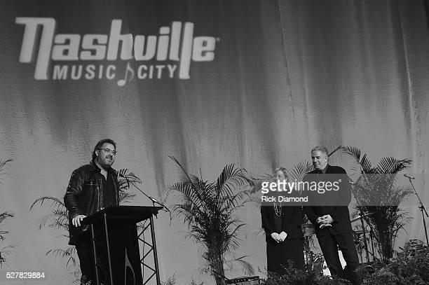 Singer/Songwriter Vince Gill Nashville Mayor Megan Barry and Board Chair Nashville CVC Founder Vector Management Ken Levitan attend as Vince Gill...