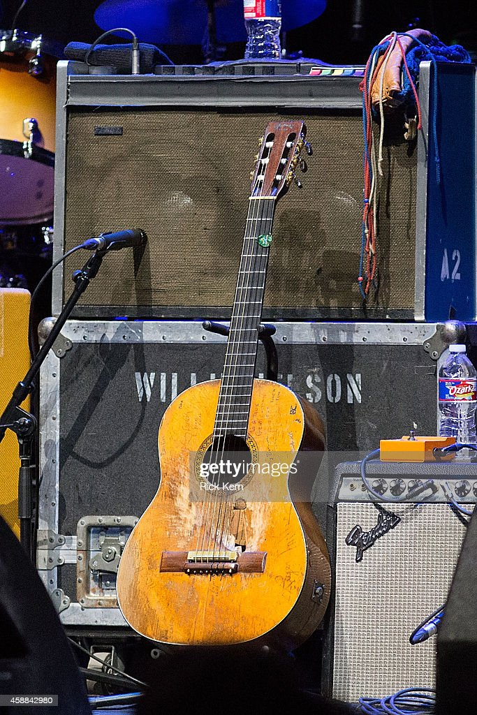 Singersongwriter Willie Nelson's guitar 'Trigger' as seen on stage during Merle Haggard in concert at ACL Live on November 11 2014 in Austin Texas
