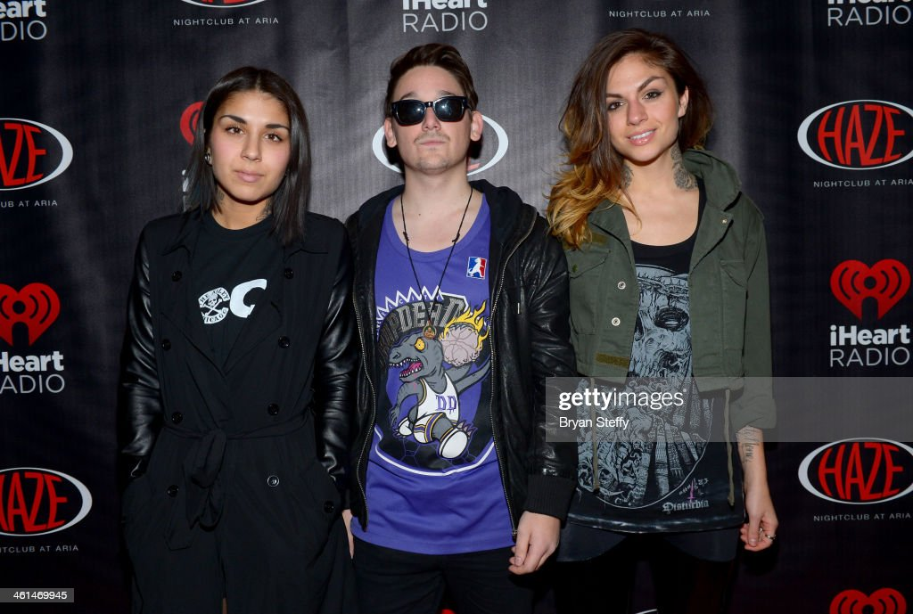 Singer/songwriter Yasmine Yousaf, producer Kris 'Rain Man' Trindl and singer/songwriter Jahan Yousaf of Krewella attend a private party celebrating CES 2014 hosted by iHeartRadio featuring a live performance by Krewella at Haze Nightclub at the Aria Resort & Casino at CityCenter on January 8, 2014 in Las Vegas, Nevada.