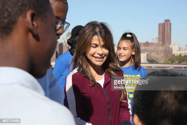 Singersongwriter/dancer Paula Abdul and the Turnaround Arts Students film Turnaround Arts music video project 'Love Train' at Empire Stores on...